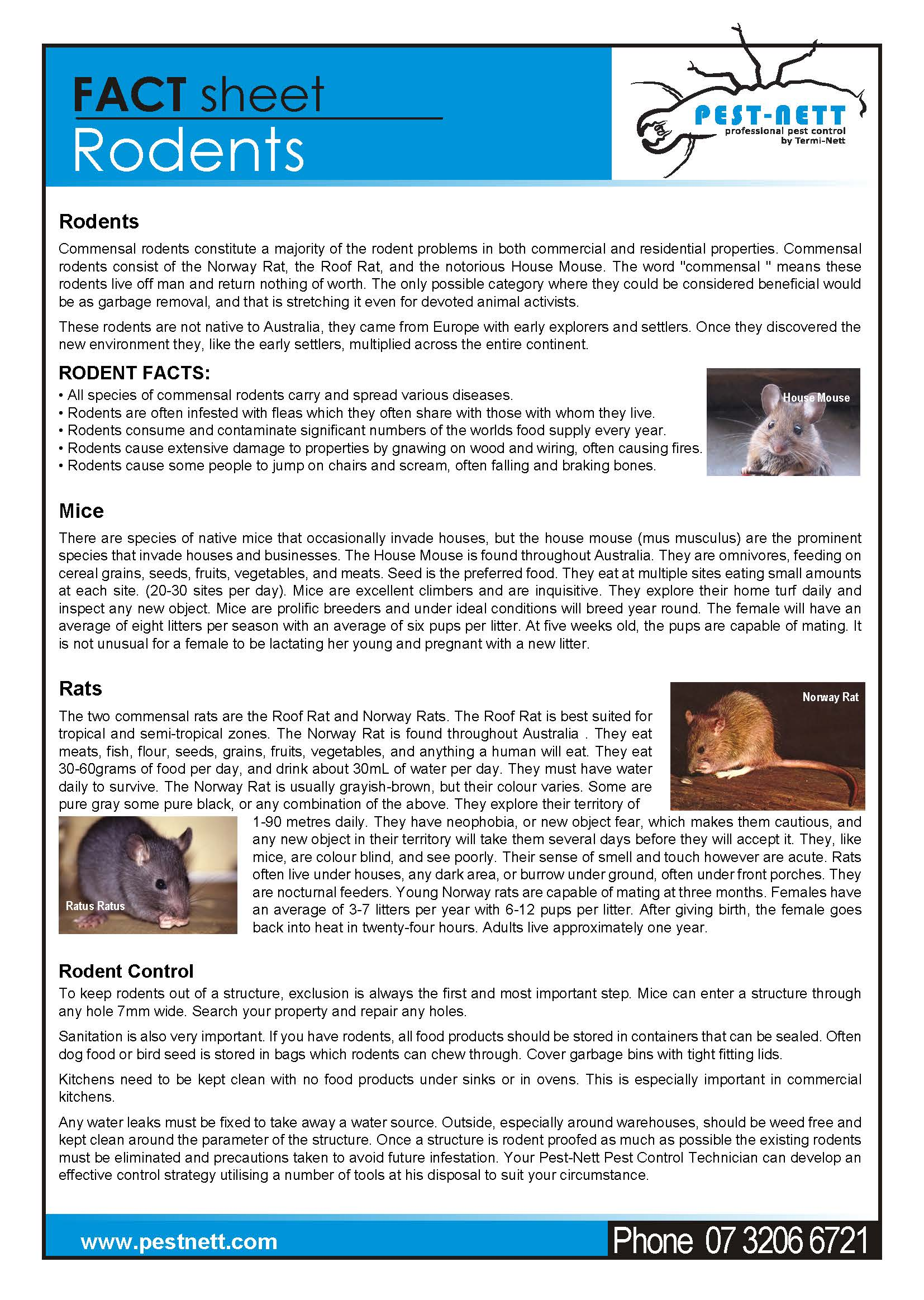 Fact Sheet Pest Nett Rodent Control